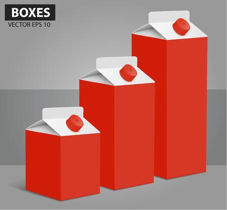 envase de leche: Jugo de la leche en blanco paquetes de cajas de cartón blanco. ilustración vectorial