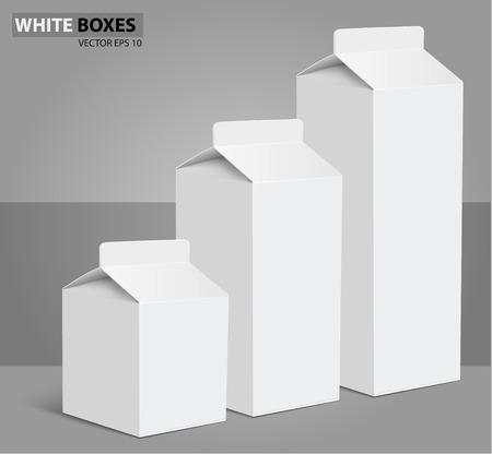 envase de leche: Jugo de la leche en blanco paquetes de cajas de cartón blanco. Vectores