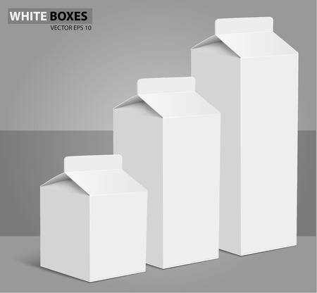 white boxes: Juice milk blank white carton boxes packages.