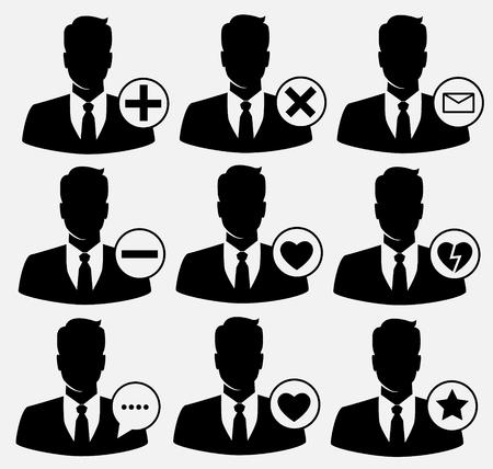 Vector social media icons. avatars icons set.  イラスト・ベクター素材