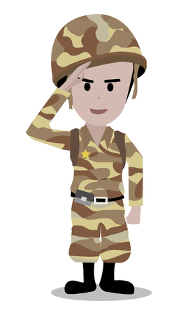 soldado: Ilustración de un uniformado soldadura Hacer un saludo de mano