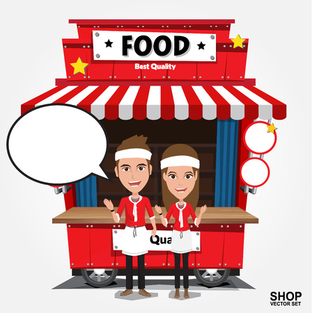 food illustrations: Fast food trolley on a colored background. Illustration