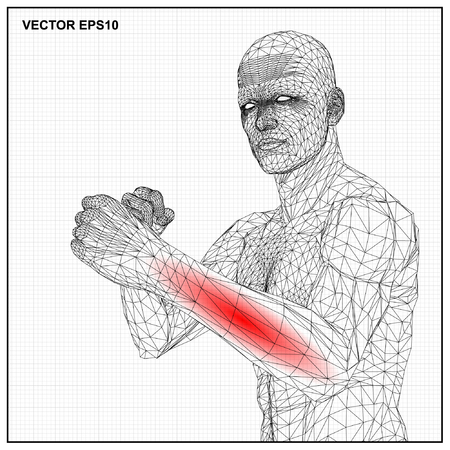 naked male body: Vector concept 3D wireframe Cartoon fighter male, Medical illustration showing inflamed, painful.