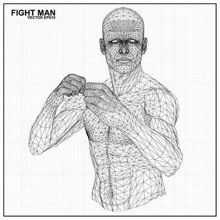 arts: Vector concept 3D wireframe Cartoon fighter male Illustration