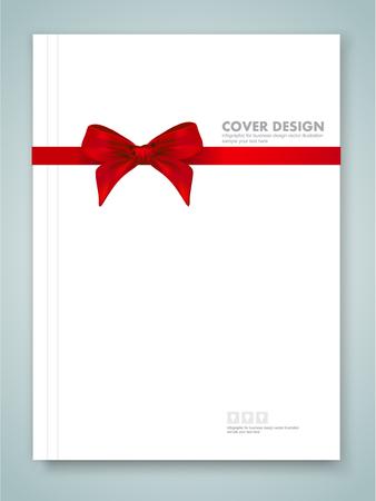 rapporto di copertura e nastro rosso con fiocco con code su sfondo.