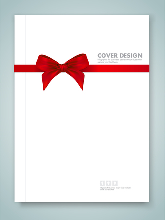 white satin: Cover report and red ribbon with bow with tails on background.