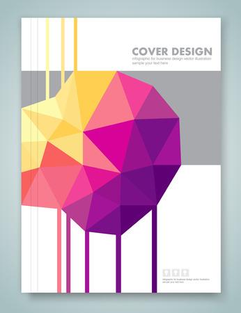 brochure cover design: Cover report and brochure colorful geometric design background, vector illustration Illustration