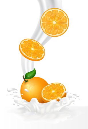 refrigerant: Fruit in milk splash over green banners.  Illustration