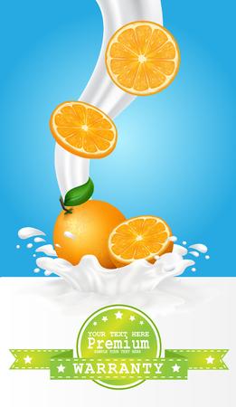 milk: Fruit in milk splash over green banners. Illustration