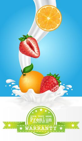 refrigerant: Fruit in milk splash over green banners. Illustration