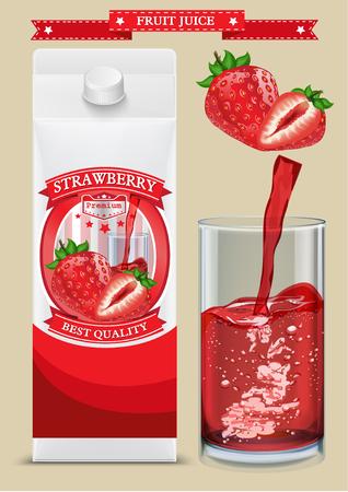 White carton boxes with Label vector visual, ideal for fruit juice. Ilustração