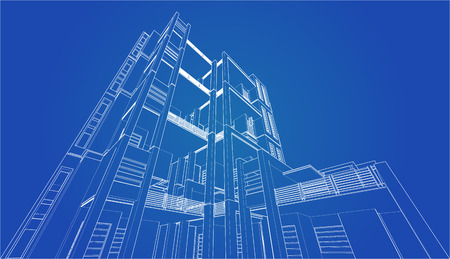 housing project: Perspective 3D render of building wireframe - Vector illustration