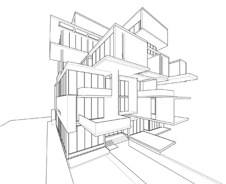 architectural drawing: Perspective 3D render of building wireframe - Vector illustration