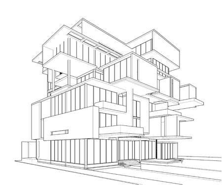 condominium: 3d wireframe of building