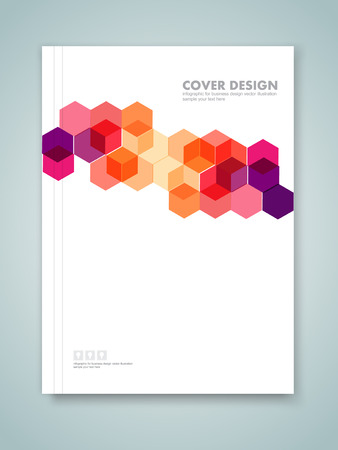 profile: Cover report and brochure colorful geometric design background Illustration