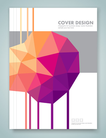 annual report: Cover report and brochure colorful geometric design background Illustration