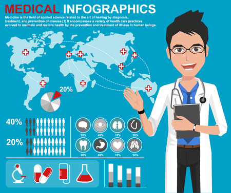 research icon: Medicine doctor working at hospital with Medical, health and healthcare icons and data elements, infographic