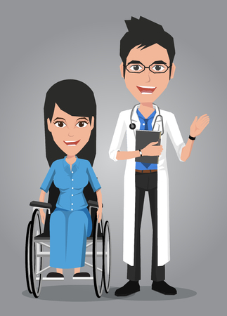 intensive care: Doctor and Woman on wheelchair. Vector illustration on the background