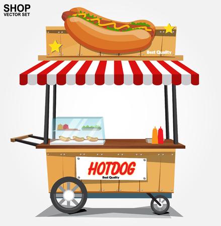 hot dog rue panier. vecteur
