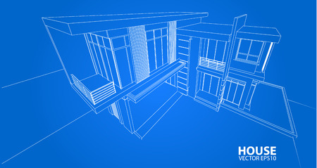 construction projects: Perspective 3D render of building wireframe - Vector illustration