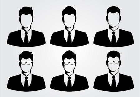 visage homme: homme d'affaires silhouette Illustration