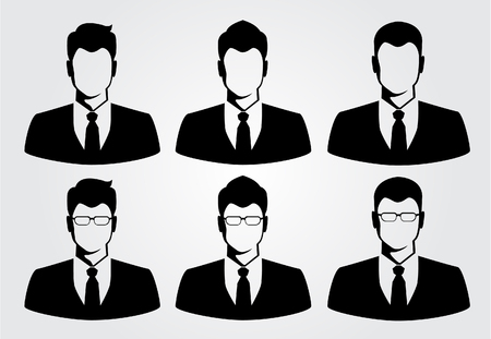 face: silueta del hombre de negocios Vectores