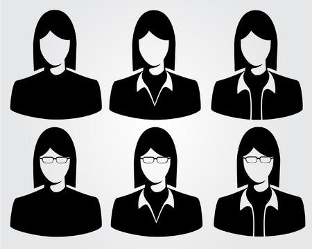 simbolo de la mujer: silueta de negocios Vectores