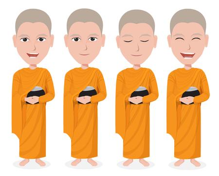 predicador: Cartoon tailandés Monje vector