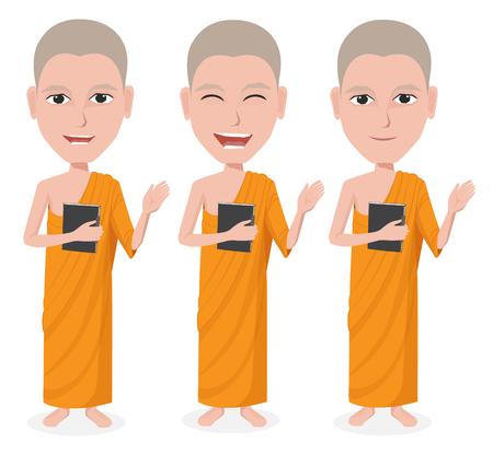 chinese buddha: Cartoon Thai Monk vector