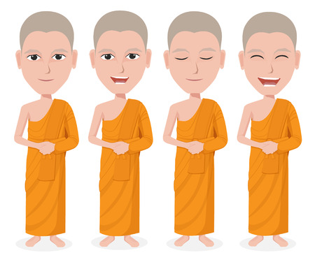 preacher: Cartoon Thai Monk vector