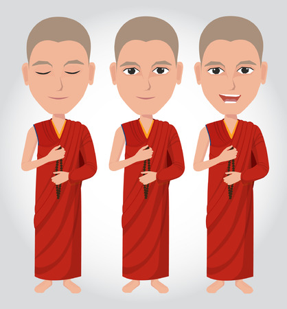 buddhist: Tibetan Buddhist monk cartoon Illustration