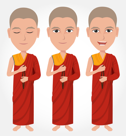 buddhist monk: Tibetan Buddhist monk cartoon Illustration