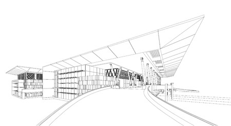 architecture: Abstract design. Modern architecture wireframe space Illustration
