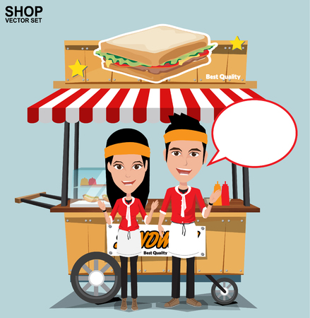 food industry: Fast food trolley with seller. vector on a colored background.