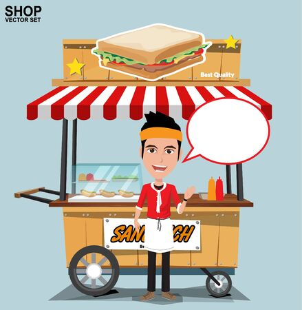 eps vector art: Fast food trolley with seller. vector on a colored background.