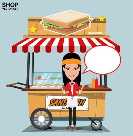 comida rapida: Carro de comida rápida con el vendedor. vector en un fondo coloreado.