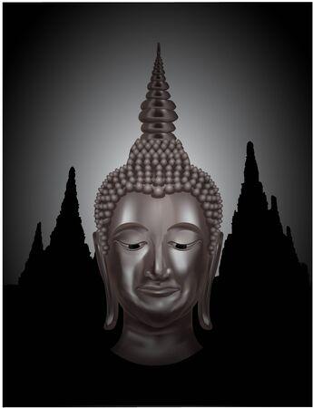 buddha image: Buddha with temple background