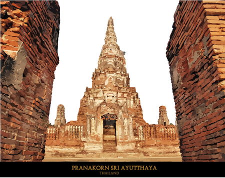 unesco: The Buddhist stupas. Temple viewed from entrance in Ayutthaya, Thailand at early-evening.vector