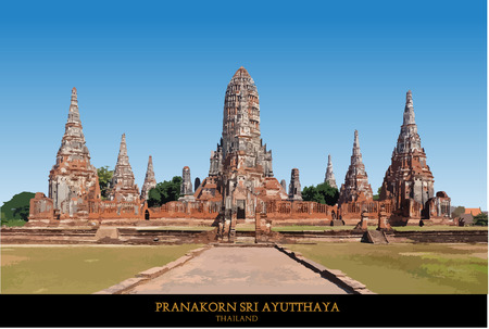 ayutthaya: The Buddhist stupas. Temple viewed from entrance in Ayutthaya, Thailand at early-evening.vector