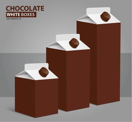 envase de leche: Juice milk blank carton boxes packages. vector illustration