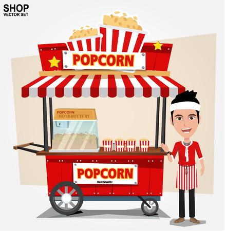 carretto gelati: popcorn carrello con il venditore illustrazione Vettoriali