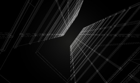 building structure: Abstract design. Modern architecture wireframe space Illustration