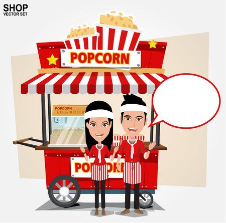 carretto gelati: popcorn carrello con il venditore - illustrazione vettoriale
