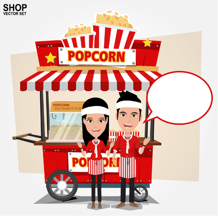 cart: popcorn cart with seller - vector illustration