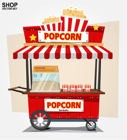 popcorn cart- vector illustration