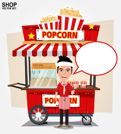carts: popcorn cart with seller - vector illustration