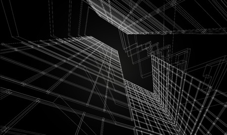 Abstract design. Modern architecture wireframe space  イラスト・ベクター素材