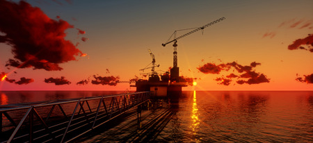 plataforma: Offshore oil and rig platform in sunset time. Construction of production process in the sea. Power energy of the world..3d render