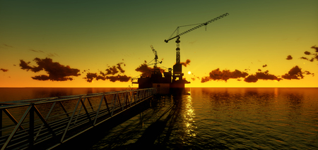 sea pollution: Offshore oil and rig platform in sunset time. Construction of production process in the sea. Power energy of the world..3d render