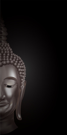 thai culture: half of a buddhas face on Black background Illustration